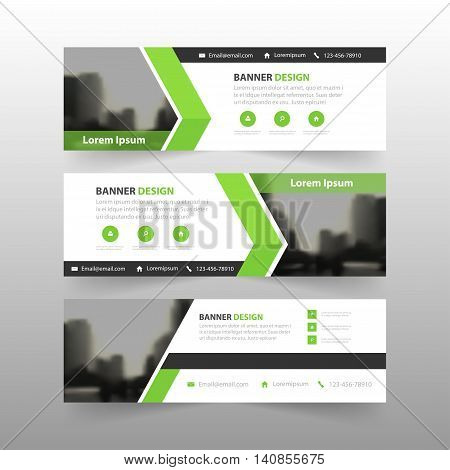 Green abstract triangle corporate business banner template horizontal advertising business banner layout template flat design set clean abstract cover header background for website design