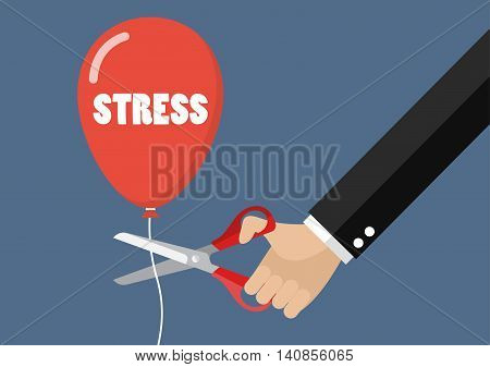 Big hand cutting stress balloon string with scissors. Business concept