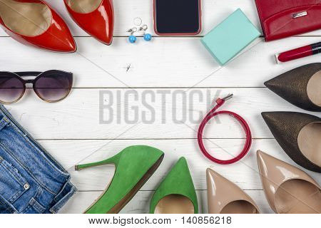 Women Clothing Set And Accessories On Light Background.top View