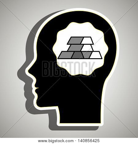 silhouette head gold ingot vector illustration eps 10