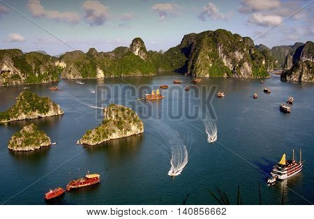 Quang Ninh, Vietnam, April 24, 2016 Ha Long Bay, a world natural heritage. in Quang Ninh province, Vietnam