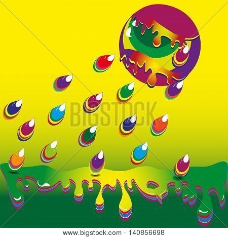Vector image  paint rain Bright illustration of a yellow background drop of ink from the two large ball is colored rain