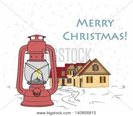 Christmas story. Lamp and house on the background of snow. the inscription: Merry Christmas. vector illustration