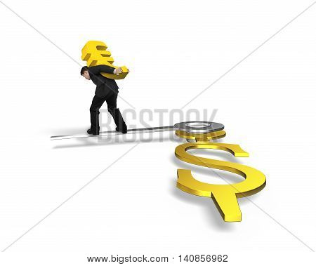 Man Carrying Euro Walking On Clock Hands In Usd Sign