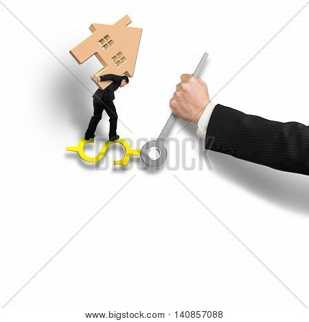 Man Carrying Wooden House Balance On Money Sign Clock Hands