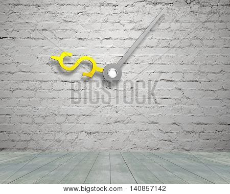Money Sign Clock Hands On Old Bricks Wall With Wooden Floor
