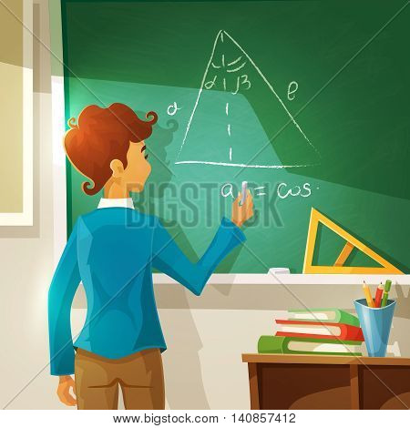Geometry Lesson Cartoon Background. Geometry Lesson Vector Illustration.  School Education Design.Geometry Lesson Decorative Illustration.