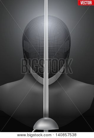 Fencer holding a sword in front of the mask. Background of Fencing symbol. Epees and helmet mask. Vector illustration.