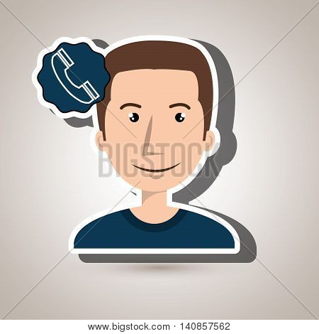 man adul young telephone vector illustration eps 10