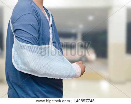 Asian boy with broken arm at hospital