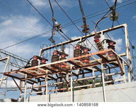Substation railroad, ceramic and glass insulators with wires