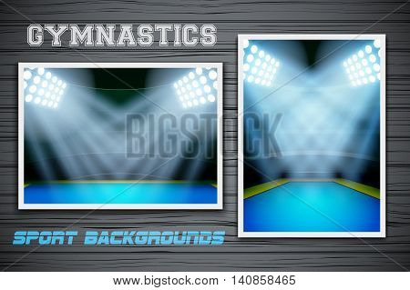 Set Backgrounds of gymnastics arena and stadium. Horizontal and vertical orientation. Editable Vector Illustration.