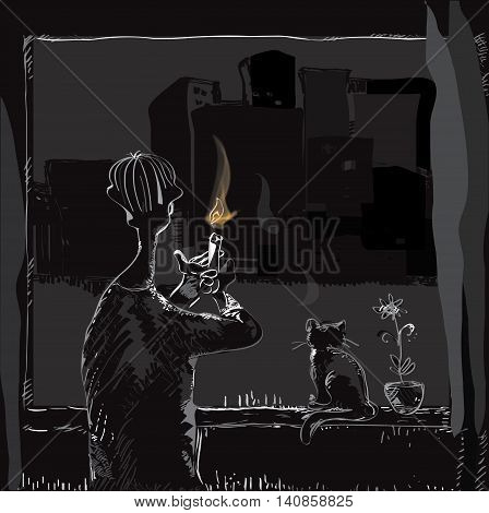 Illustration of a man with a candle in hands looking at the dark collapsed city through the window, concept of blackout