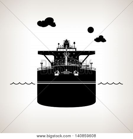 Front View of the Vessel, Oil Tanker on Light Background, International Freight Transportation, Silhouette Vessel for the Transportation of Goods, Vector Illustration