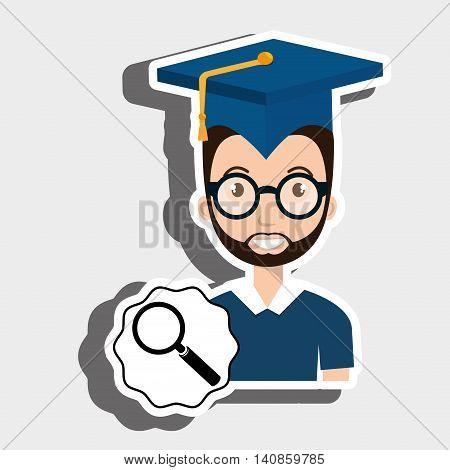 student graduation search glass vector illustration eps 10