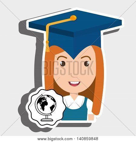student graduation cap map vector illustration eps 10