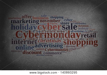Blackboard with word cloud on Cyber Monday.3D rendering.