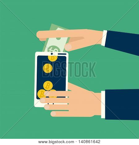 Hands holding smartphone convert dollar bill to bitcoin coins. Vector illustration on virtual money online business commerce finance exchange in flat style