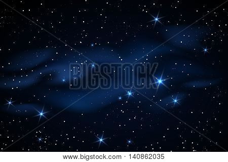 Milky way galaxy black vector background with blue stars nebula