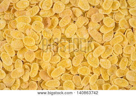 Cornflakes close-up. Cereals for use as background image or as texture