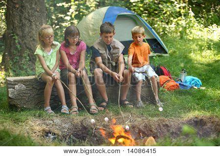 Kinder Rösten Marshmallows am Lagerfeuer