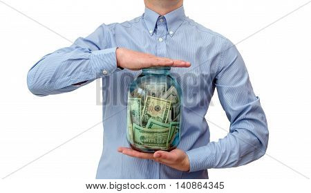 man holding a jar full of money,isolated on white background