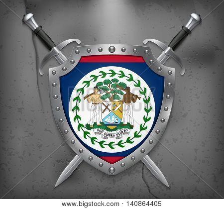 Flag Of Belize. The Shield Has Flag Illustration. Vector Medieval Background