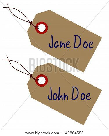 A Jane a d John Doe set ofbrown paper tags over a white background
