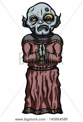 Illustration evil master's servant dressed in cultist robe
