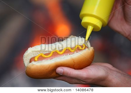 Mustard on hot dog