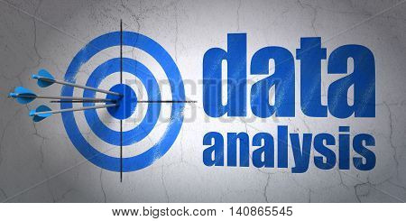 Success Data concept: arrows hitting the center of target, Blue Data Analysis on wall background, 3D rendering