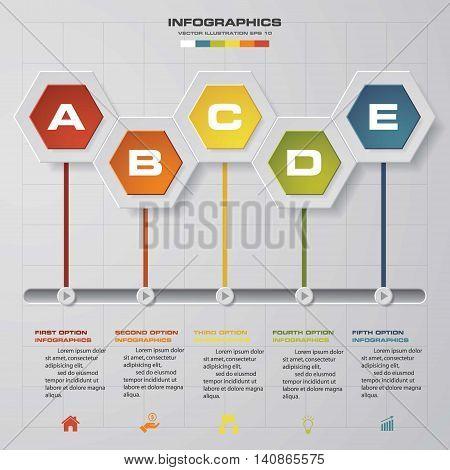 timeline description. 5 steps timeline infographic for business design