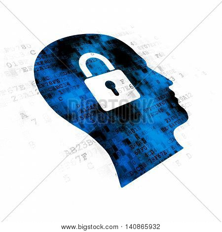Information concept: Pixelated blue Head With Padlock icon on Digital background