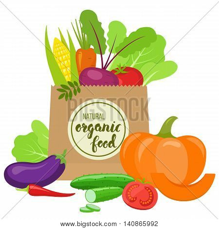 Paper bag with colorful vegetables. Handwritten lettering - organic food. Vector stock illustration.