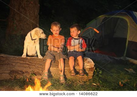 Children roasting hot dogs