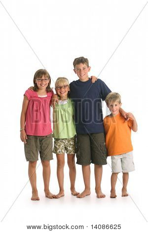 Portrait of four kids isolated on white background