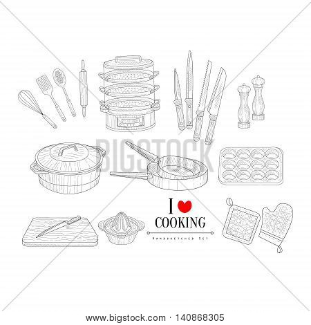 Cooking Related Clipart Objects Hand Drawn Realistic Detailed Sketch In Classy Simple Pencil Style On White Background
