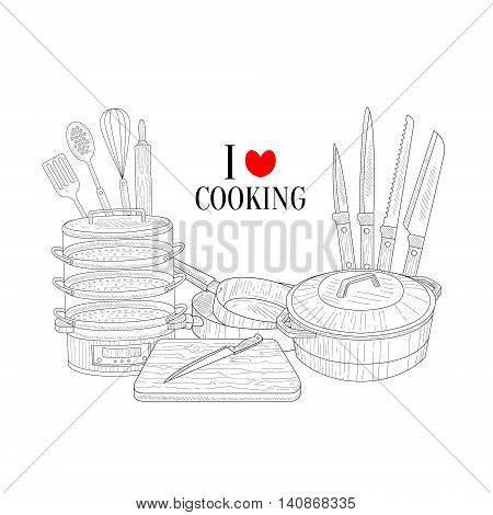 Set Of Cooking Utensils Hand Drawn Realistic Detailed Sketch In Classy Simple Pencil Style On White Background