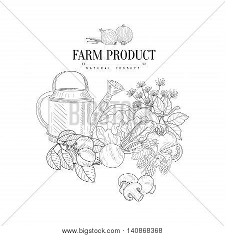 Farm Product Hand Drawn Realistic Detailed Sketch In Classy Simple Pencil Style On White Background