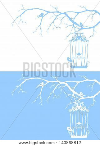 vintage bird cage among winter tree branches - seasonal vector design