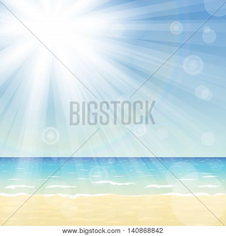 Ocean landscape with bright sun and sun beams