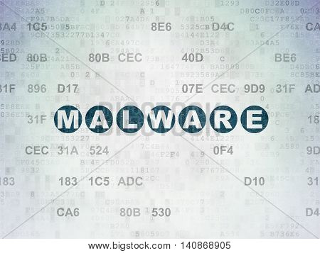 Safety concept: Painted blue text Malware on Digital Data Paper background with Hexadecimal Code