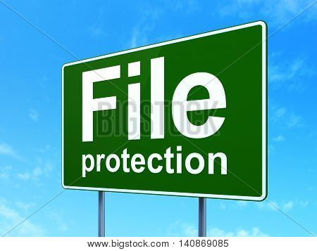 Privacy concept: File Protection on green road highway sign, clear blue sky background, 3D rendering