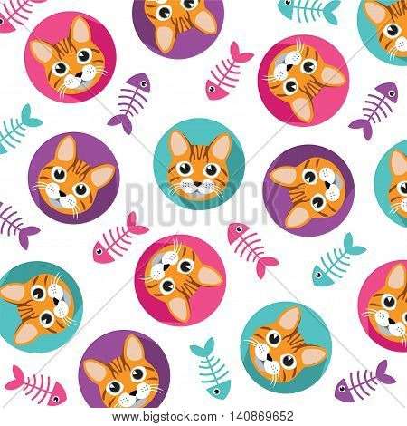 Cute Cat and fishbone vector pattern illustrations on colored background.