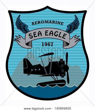 Label with the words Aeromarine, Sea Eagle written inside, vector illustration