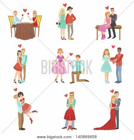 Adult Couples On A Date Bright Color Cartoon Simple Style Flat Vector Set Of Stickers Isolated On White Background