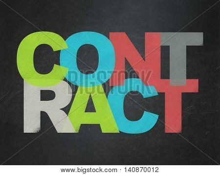 Business concept: Painted multicolor text Contract on School board background, School Board