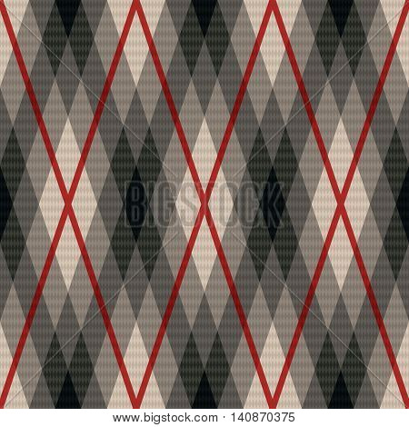Rhombic Seamless Fabric Pattern In Gray And Red