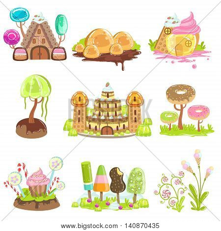 Fantasy Landscape Elements Made Of Sweets And Candy. Bright Color Girly Design Landscaping Objects Set Of Flat Vector Icons.