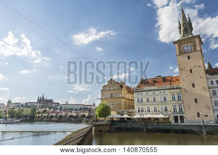 PRAGUE, CZECH REPUBLIC, JULY 5,2016: Exterior shot of Clock Tower and Bedrich Smetana Museum, a museum dedicated to the life and works of famous Czech composer Bedrich Smetana (18241884).